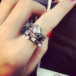 Jewelry - Gunmetal Crystal Midi Stacked Antique Silver Rings